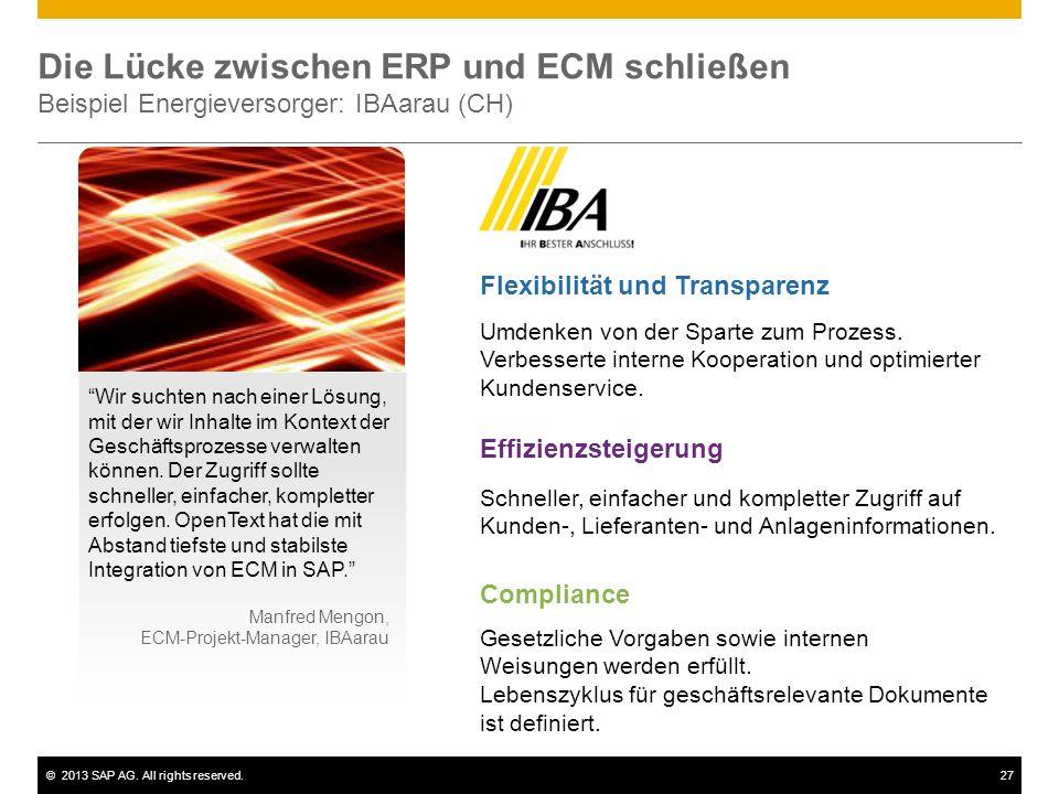 Die Lücke zwischen ERP und ECM schließen Beispiel Energieversorger: IBAarau (CH)