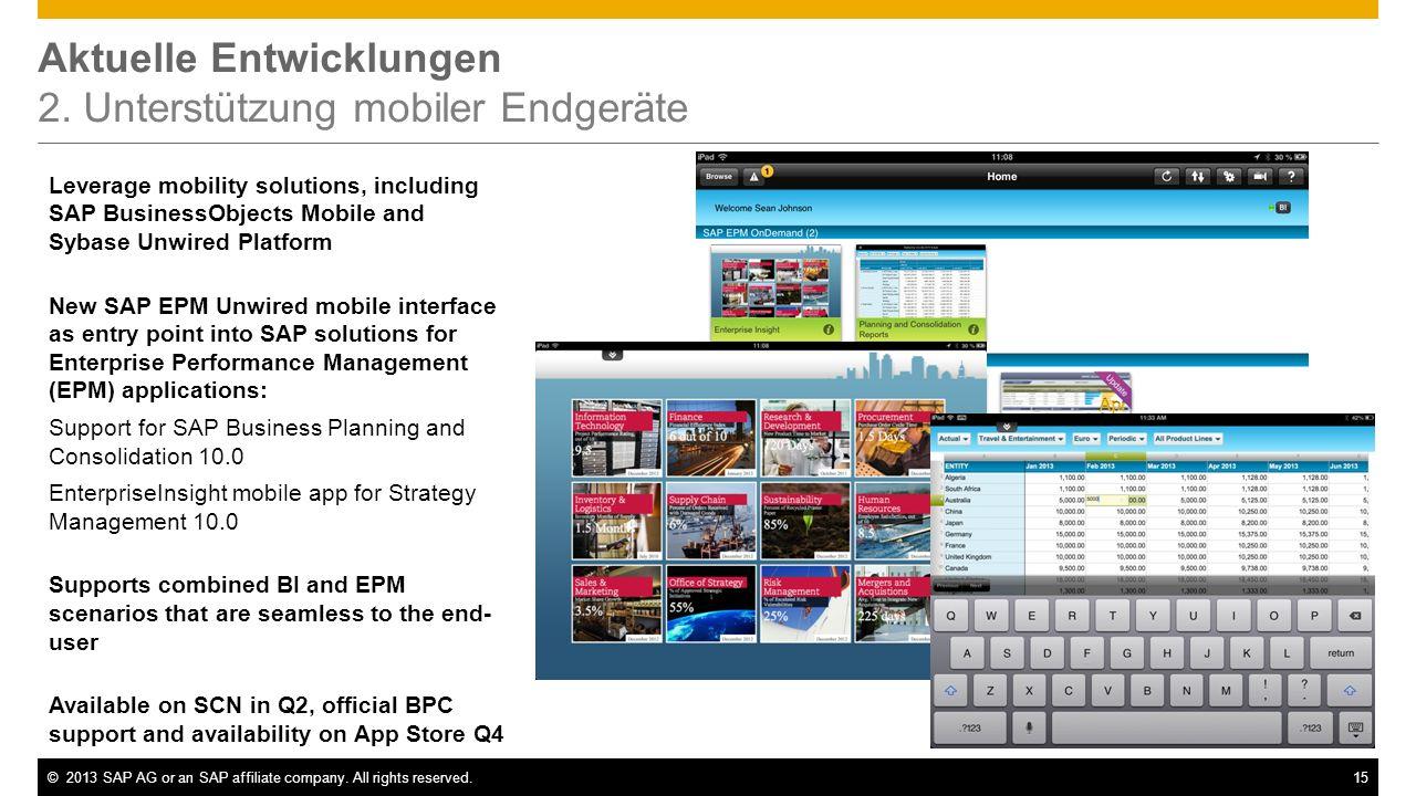 Aktuelle Entwicklungen 2. Unterstützung mobiler Endgeräte