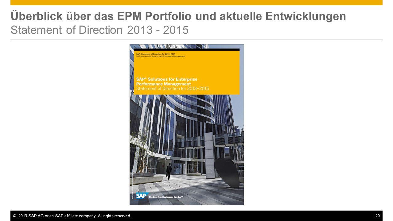 Überblick über das EPM Portfolio und aktuelle Entwicklungen Statement of Direction 2013 - 2015
