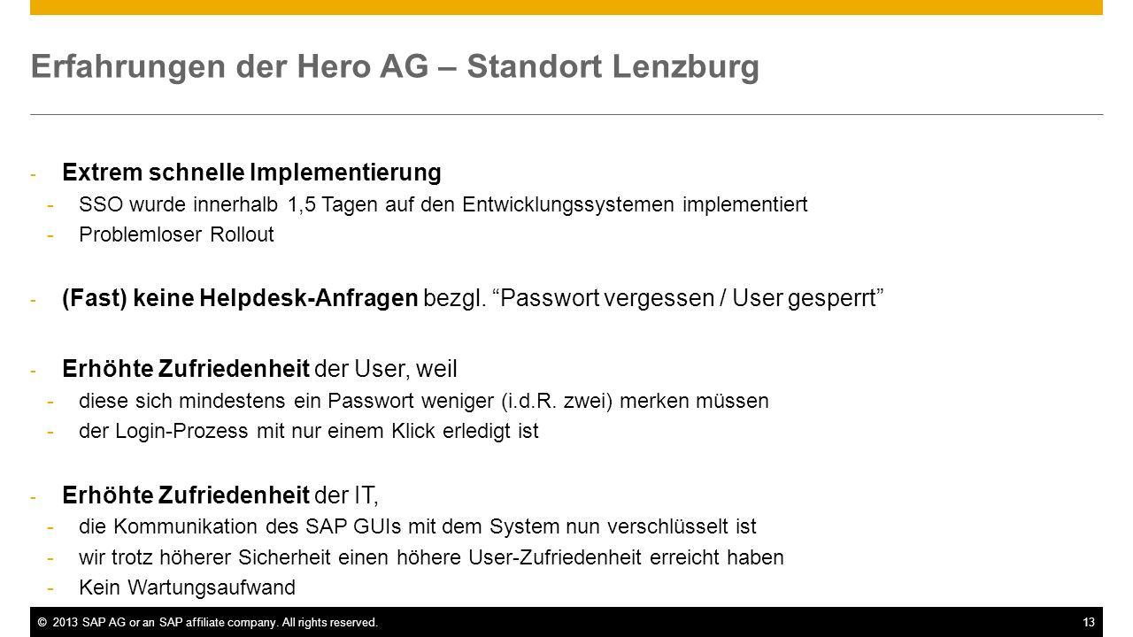 Erfahrungen der Hero AG – Standort Lenzburg