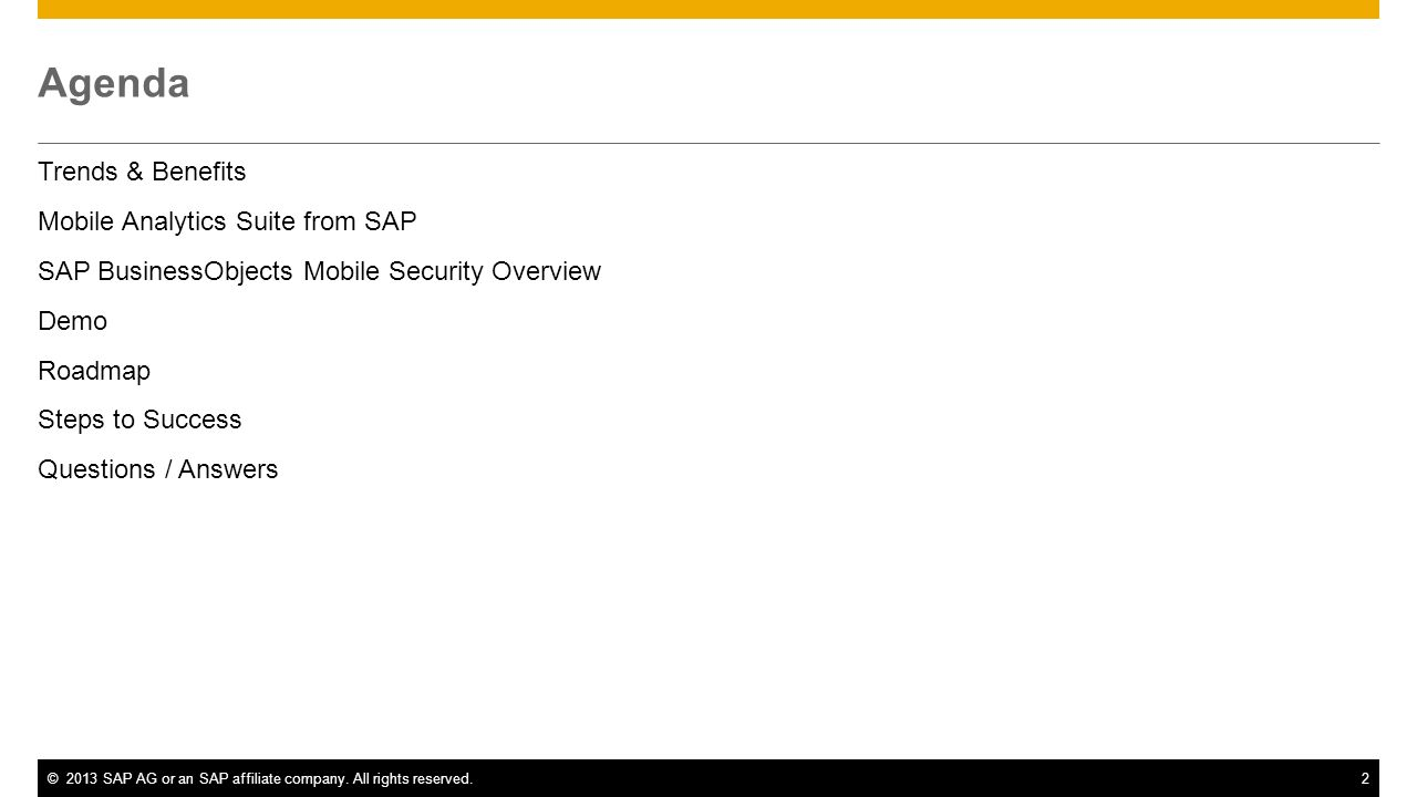 Agenda Trends & Benefits Mobile Analytics Suite from SAP