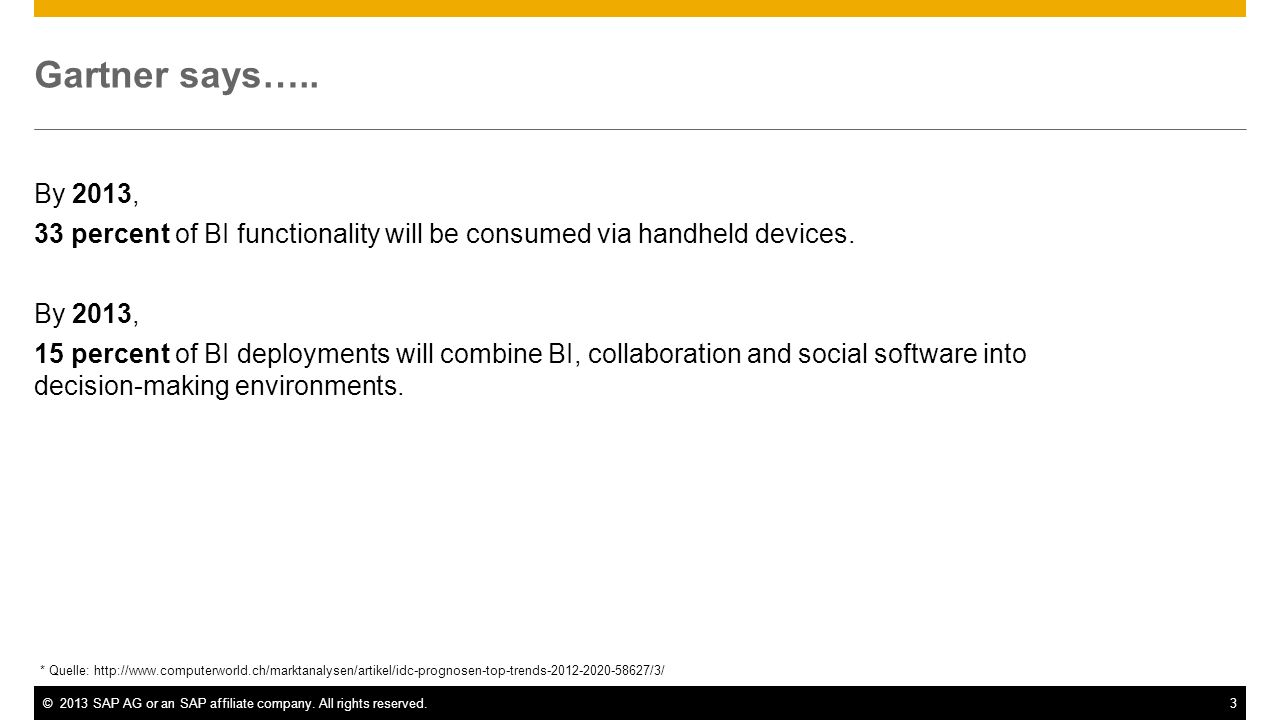 Gartner says….. By 2013, 33 percent of BI functionality will be consumed via handheld devices.