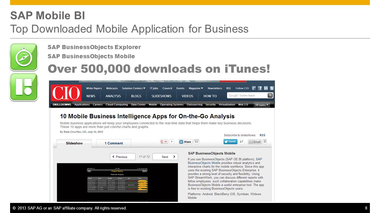 SAP Mobile BI Top Downloaded Mobile Application for Business