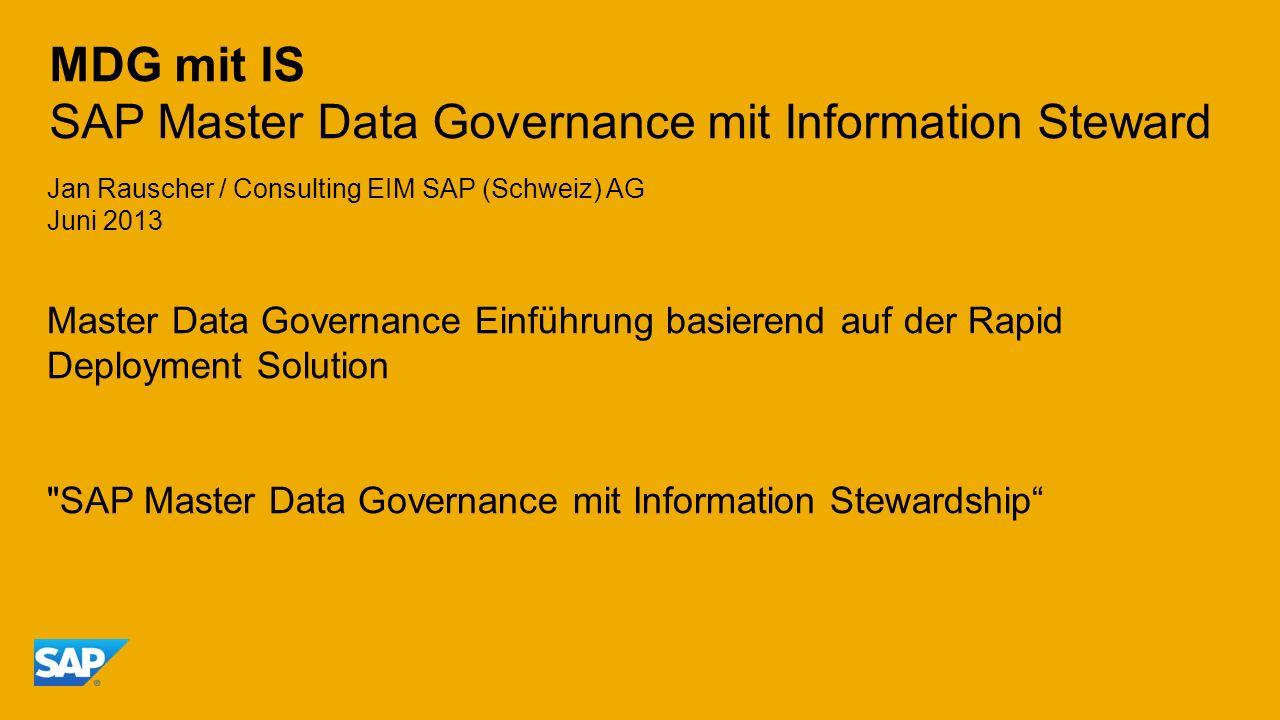 MDG mit IS SAP Master Data Governance mit Information Steward