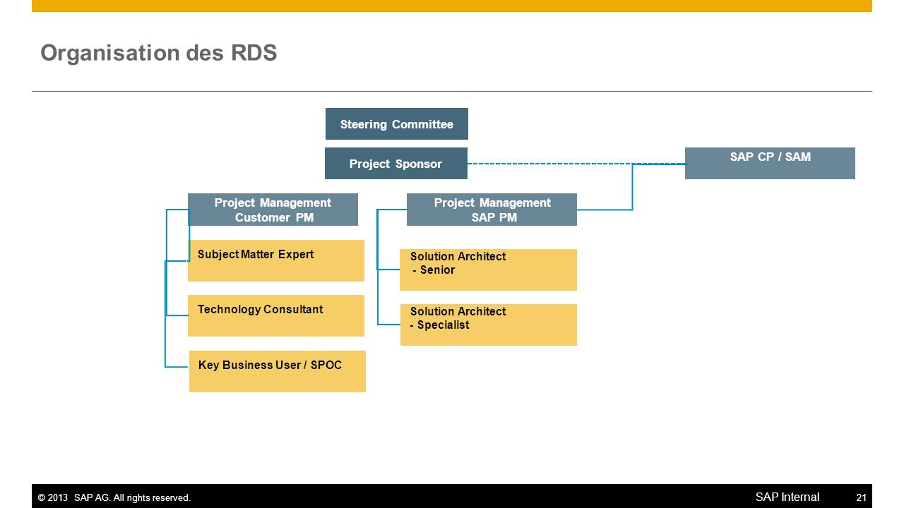 Organisation des RDS Steering Committee Project Sponsor SAP CP / SAM