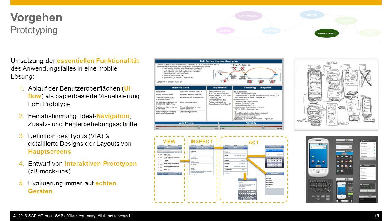 Vorgehen Prototyping Umsetzung der essentiellen Funktionalität des Anwendungsfalles in eine mobile Lösung: