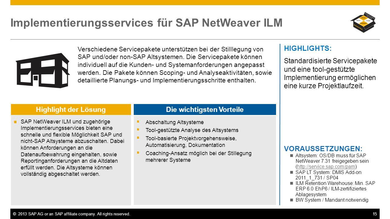 Implementierungsservices für SAP NetWeaver ILM