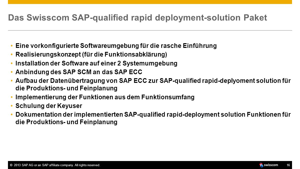 Das Swisscom SAP-qualified rapid deployment-solution Paket