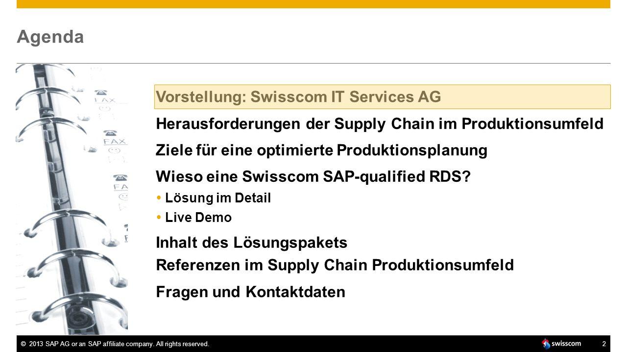 Agenda Vorstellung: Swisscom IT Services AG