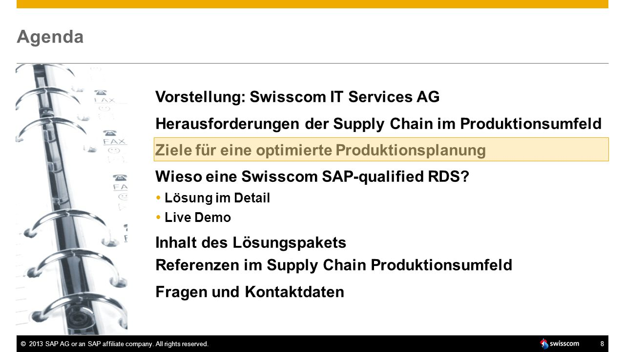 Agenda Vorstellung: Swisscom IT Services AG