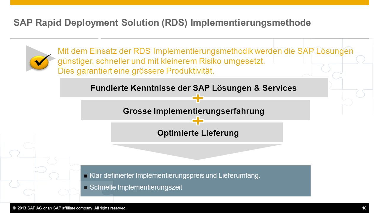 SAP Rapid Deployment Solution (RDS) Implementierungsmethode Executive Summary