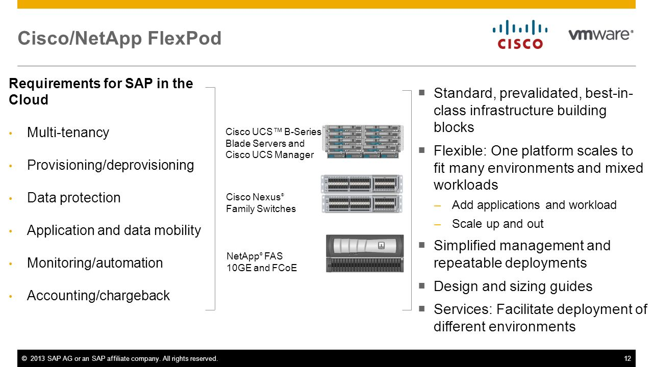Cisco/NetApp FlexPod Requirements for SAP in the Cloud. Multi-tenancy. Provisioning/deprovisioning.
