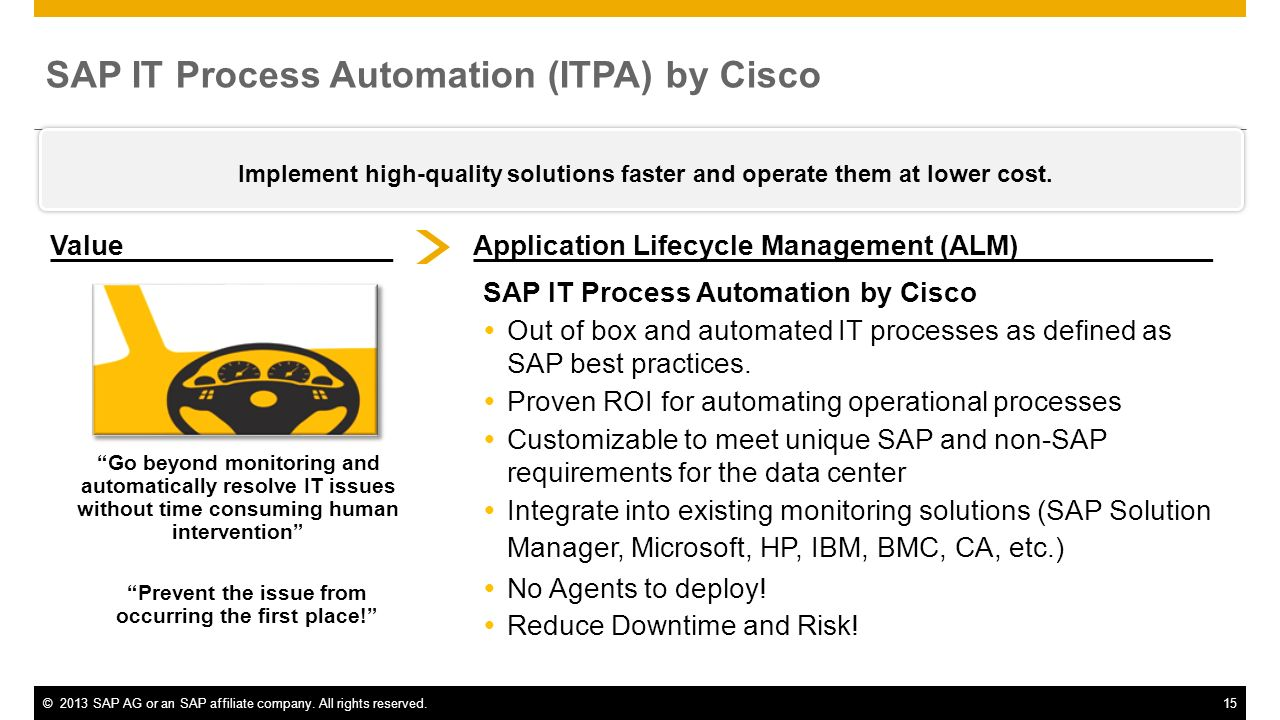 SAP IT Process Automation (ITPA) by Cisco