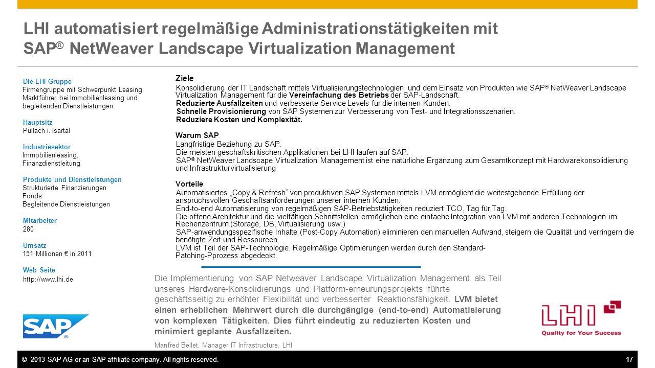 LHI automatisiert regelmäßige Administrationstätigkeiten mit SAP® NetWeaver Landscape Virtualization Management