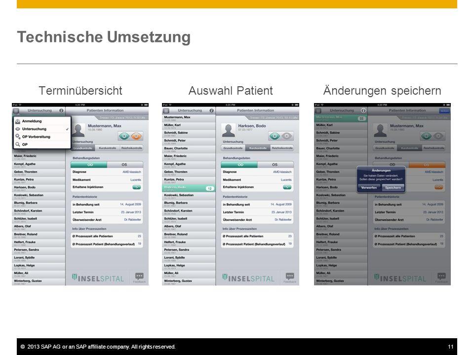 Technische Umsetzung Terminübersicht Auswahl Patient