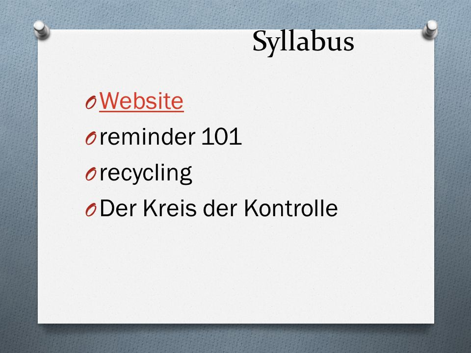 Syllabus Website reminder 101 recycling Der Kreis der Kontrolle