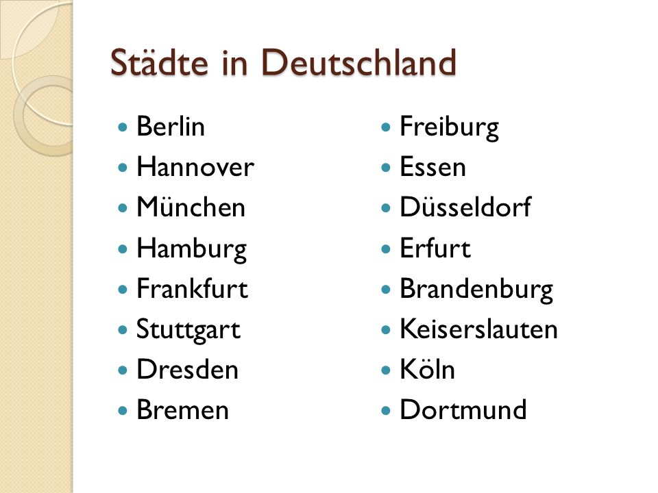 Städte in Deutschland Berlin Freiburg Hannover Essen München