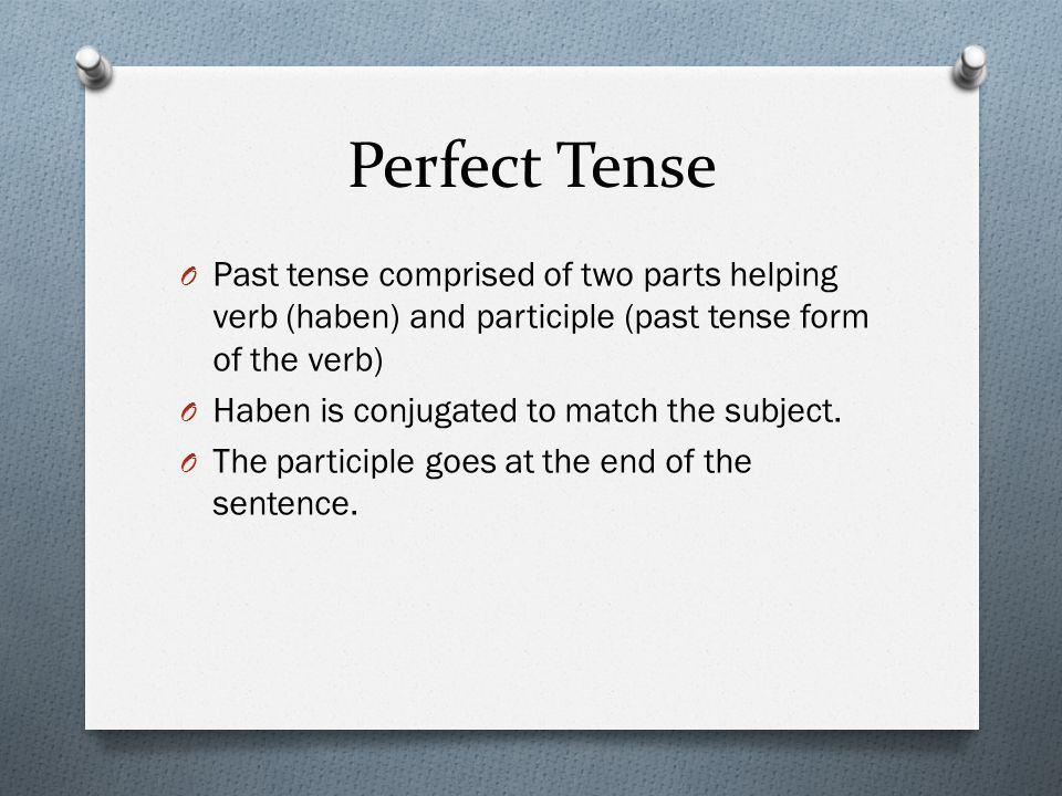 Perfect Tense Past tense comprised of two parts helping verb (haben) and participle (past tense form of the verb)