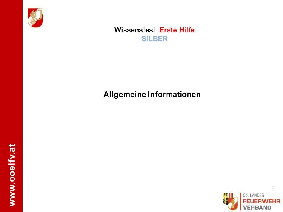 Wissenstest Erste Hilfe SILBER Allgemeine Informationen