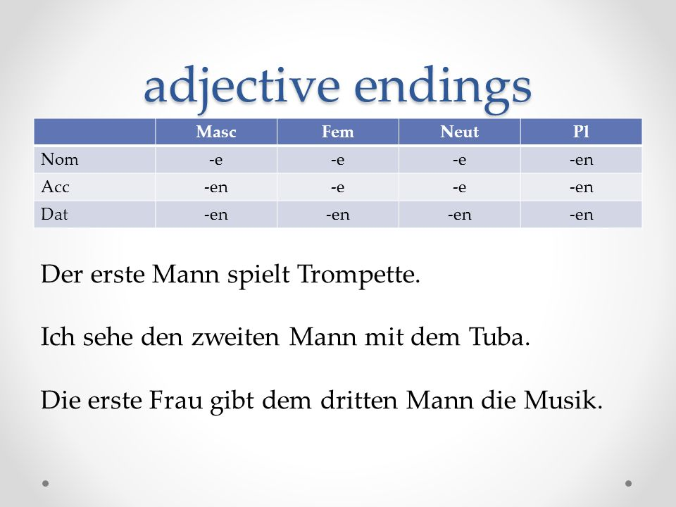 adjective endings Der erste Mann spielt Trompette.