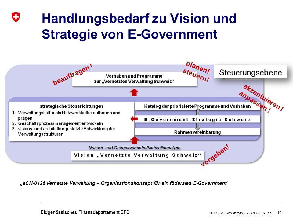 Handlungsbedarf zu Vision und Strategie von E-Government