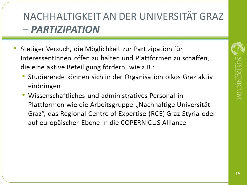 Nachhaltigkeit an der Universität Graz – Partizipation