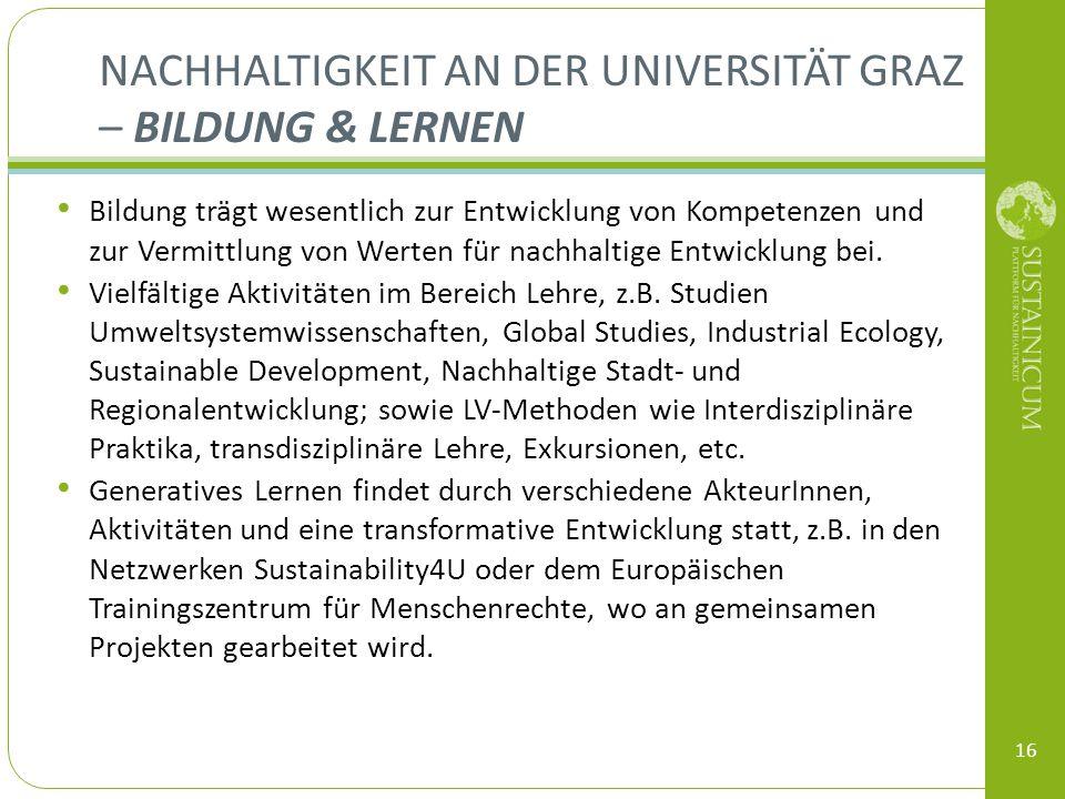 Nachhaltigkeit an der Universität Graz – Bildung & Lernen