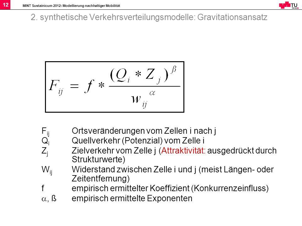 2. synthetische Verkehrsverteilungsmodelle: Gravitationsansatz