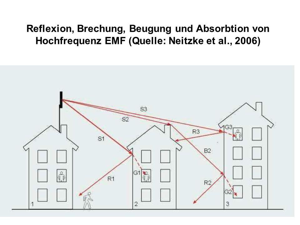 Reflexion, Brechung, Beugung und Absorbtion von Hochfrequenz EMF (Quelle: Neitzke et al., 2006)