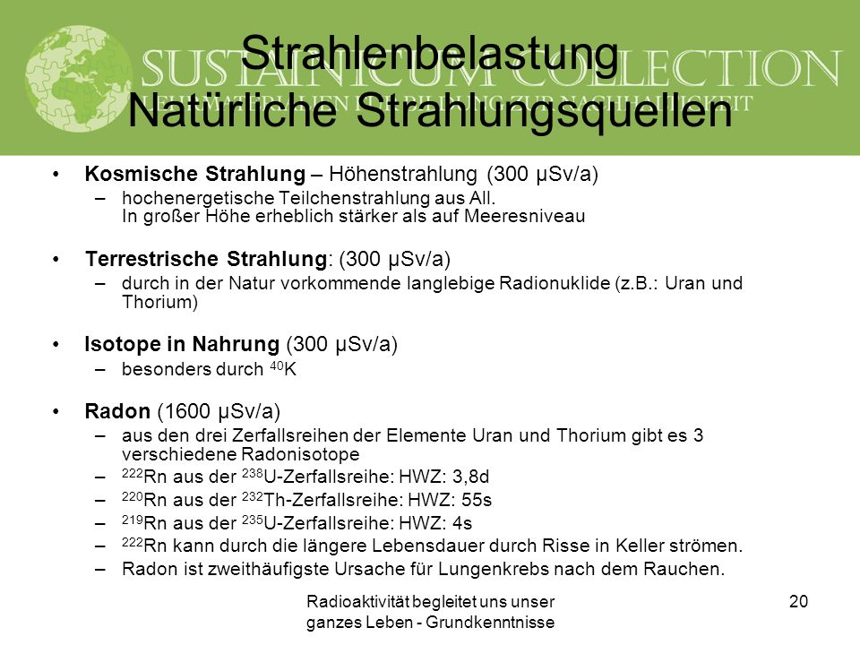Strahlenbelastung Natürliche Strahlungsquellen