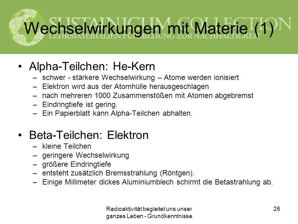 Wechselwirkungen mit Materie (1)