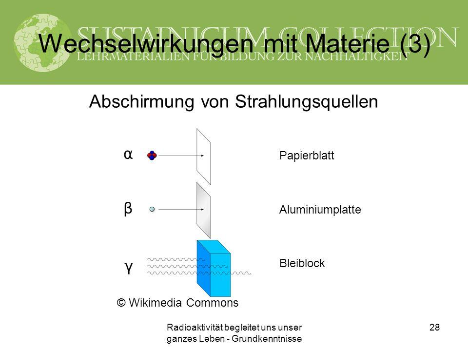 Wechselwirkungen mit Materie (3)