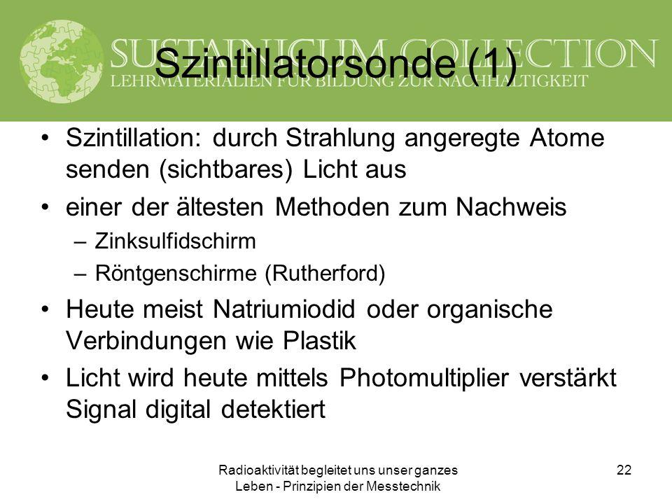 Szintillatorsonde (1) Szintillation: durch Strahlung angeregte Atome senden (sichtbares) Licht aus.
