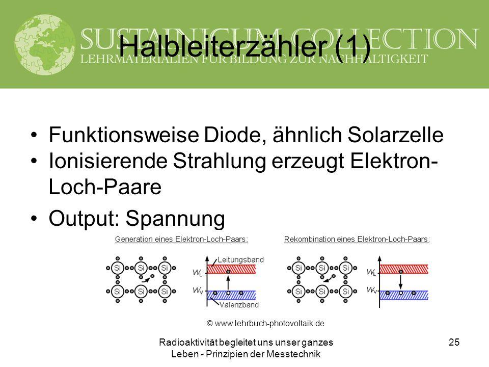 Halbleiterzähler (1) Funktionsweise Diode, ähnlich Solarzelle