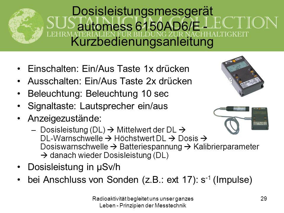 Dosisleistungsmessgerät automess 6150AD6/E - Kurzbedienungsanleitung