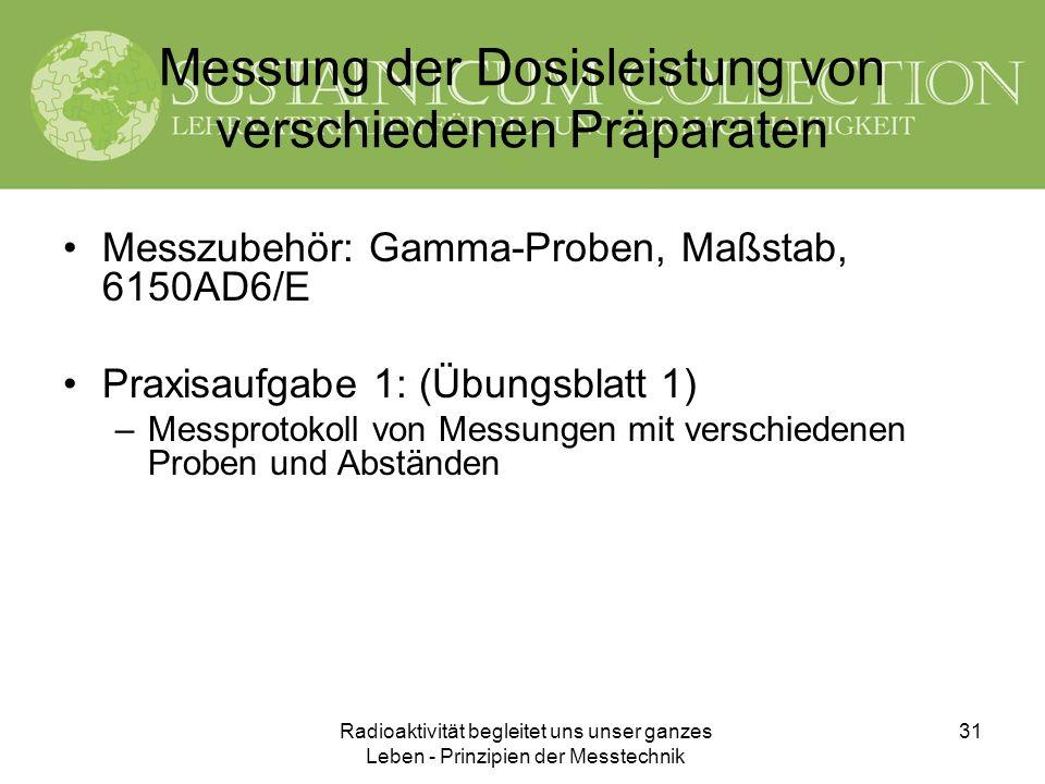 Messung der Dosisleistung von verschiedenen Präparaten