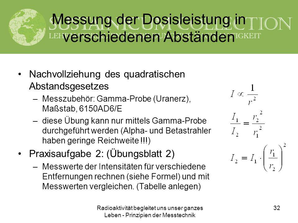 Messung der Dosisleistung in verschiedenen Abständen