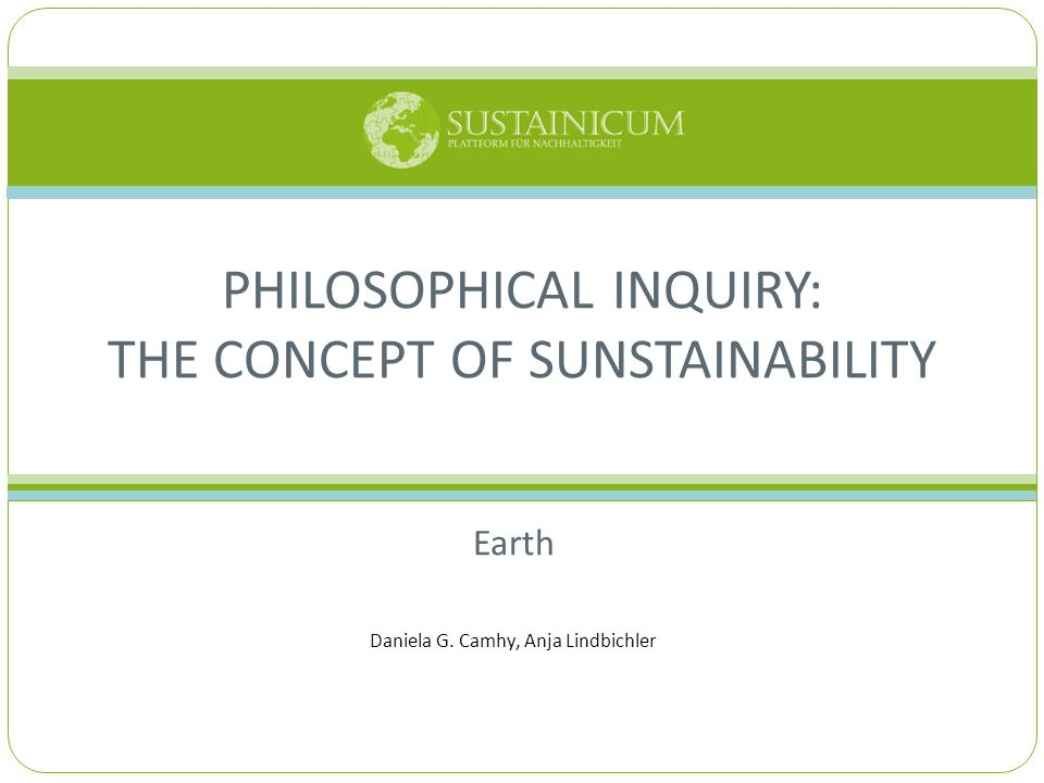 Philosophical Inquiry: The Concept of Sunstainability