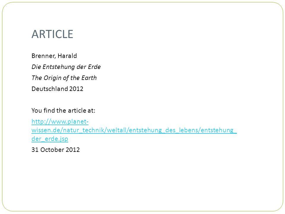 ARTICLE Brenner, Harald Die Entstehung der Erde