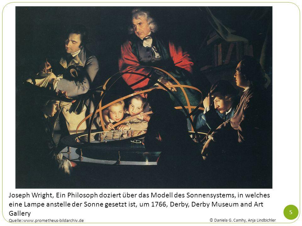 Joseph Wright, Ein Philosoph doziert über das Modell des Sonnensystems, in welches eine Lampe anstelle der Sonne gesetzt ist, um 1766, Derby, Derby Museum and Art Gallery