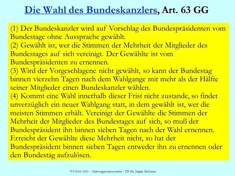 Die Wahl des Bundeskanzlers, Art. 63 GG