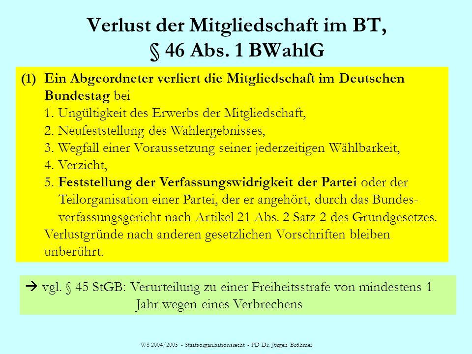 Verlust der Mitgliedschaft im BT, § 46 Abs. 1 BWahlG