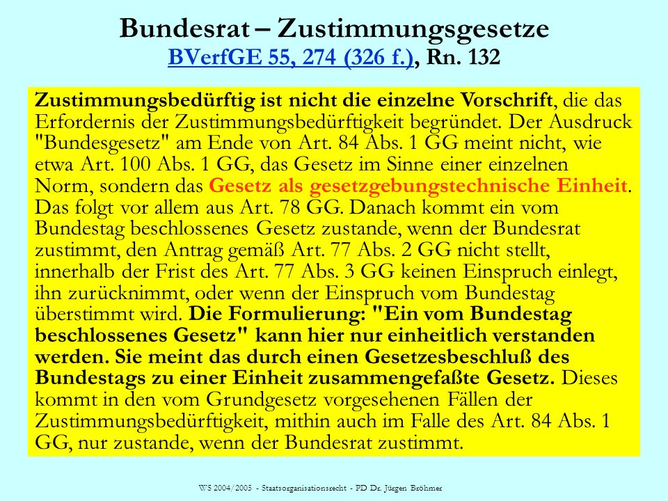 Bundesrat – Zustimmungsgesetze BVerfGE 55, 274 (326 f.), Rn. 132