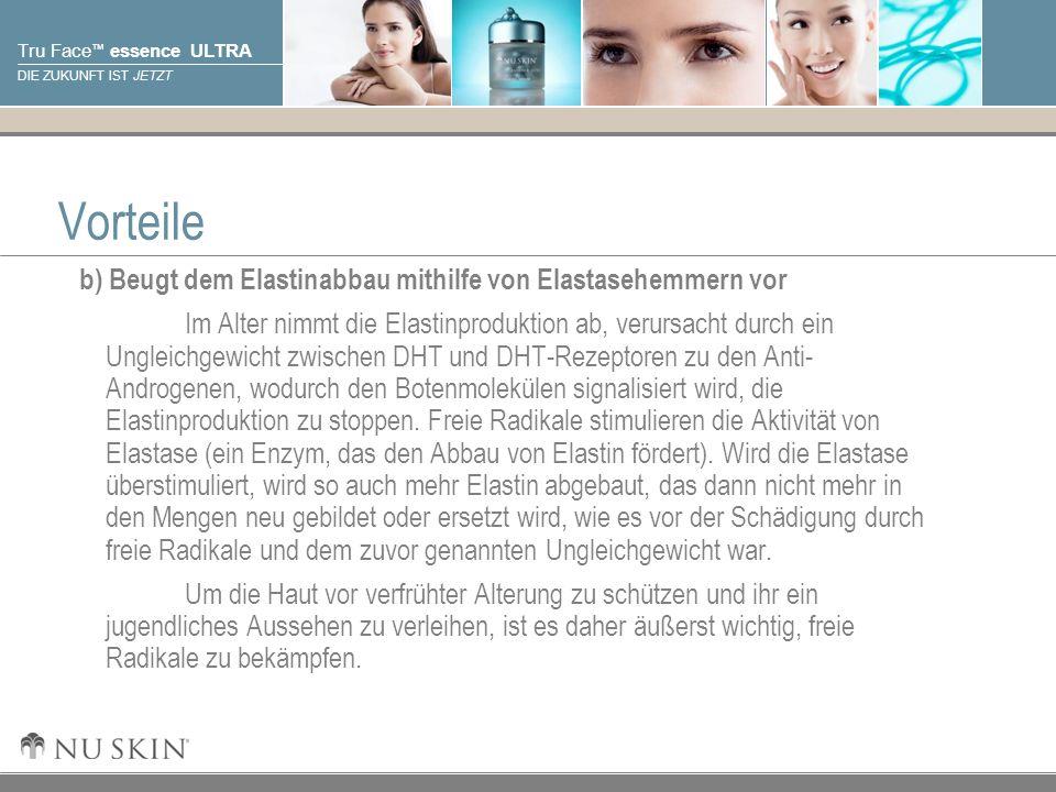 Vorteile b) Beugt dem Elastinabbau mithilfe von Elastasehemmern vor