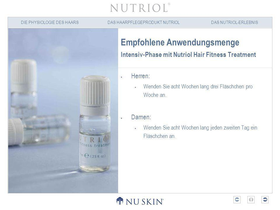 Empfohlene Anwendungsmenge Intensiv-Phase mit Nutriol Hair Fitness Treatment