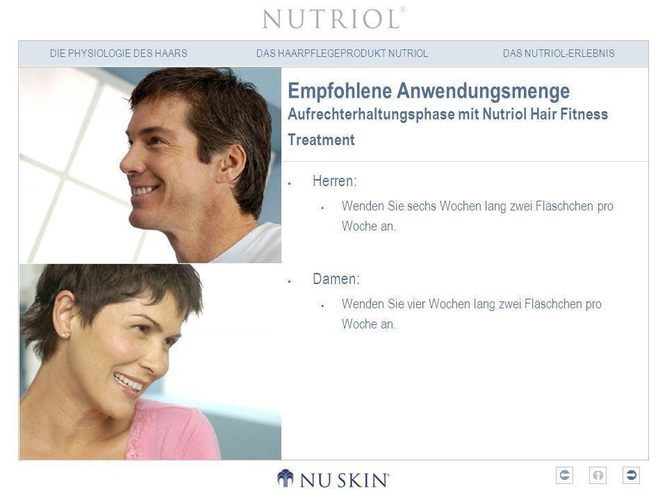 Empfohlene Anwendungsmenge Aufrechterhaltungsphase mit Nutriol Hair Fitness Treatment