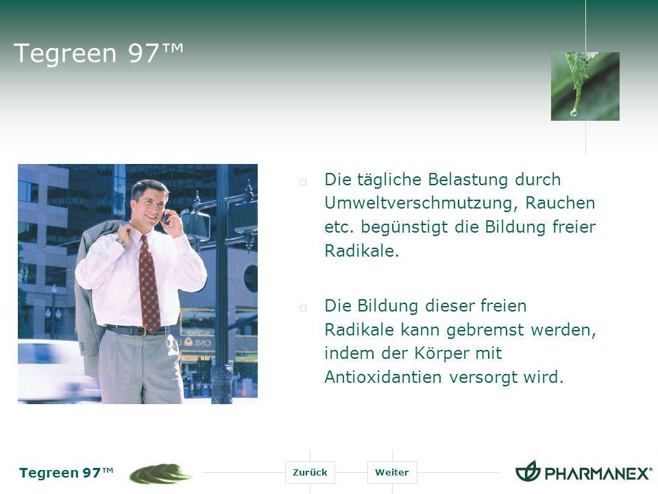 Tegreen 97™ Die tägliche Belastung durch Umweltverschmutzung, Rauchen etc. begünstigt die Bildung freier Radikale.