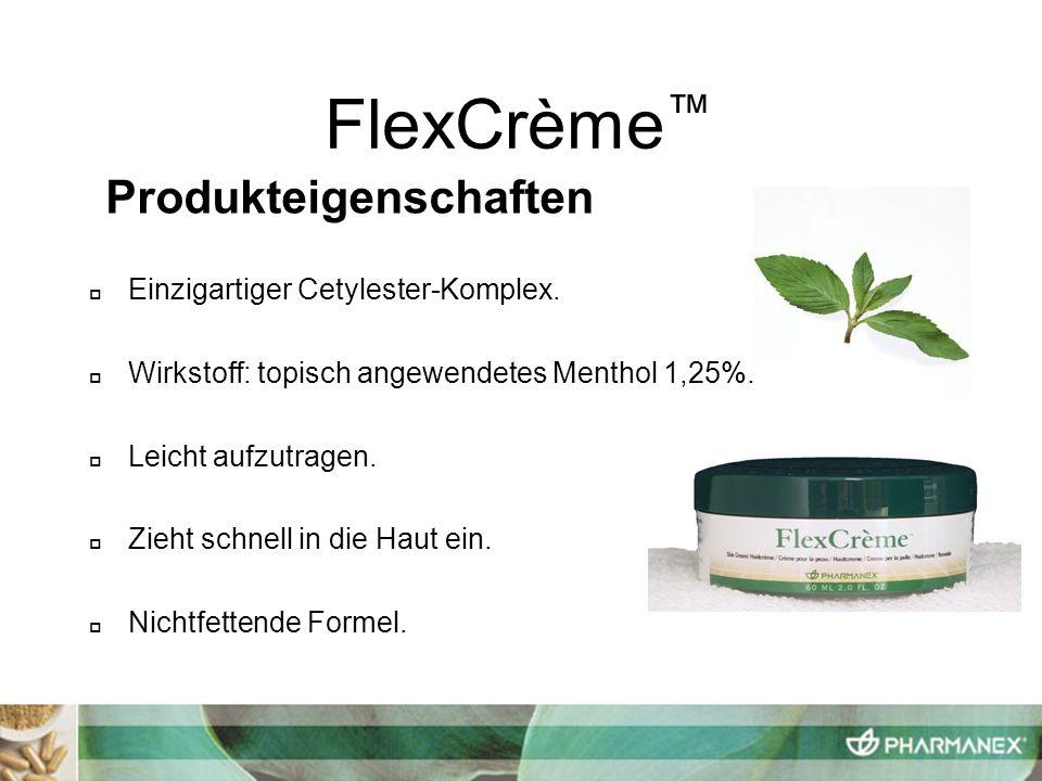 FlexCrème™ Produkteigenschaften Einzigartiger Cetylester-Komplex.