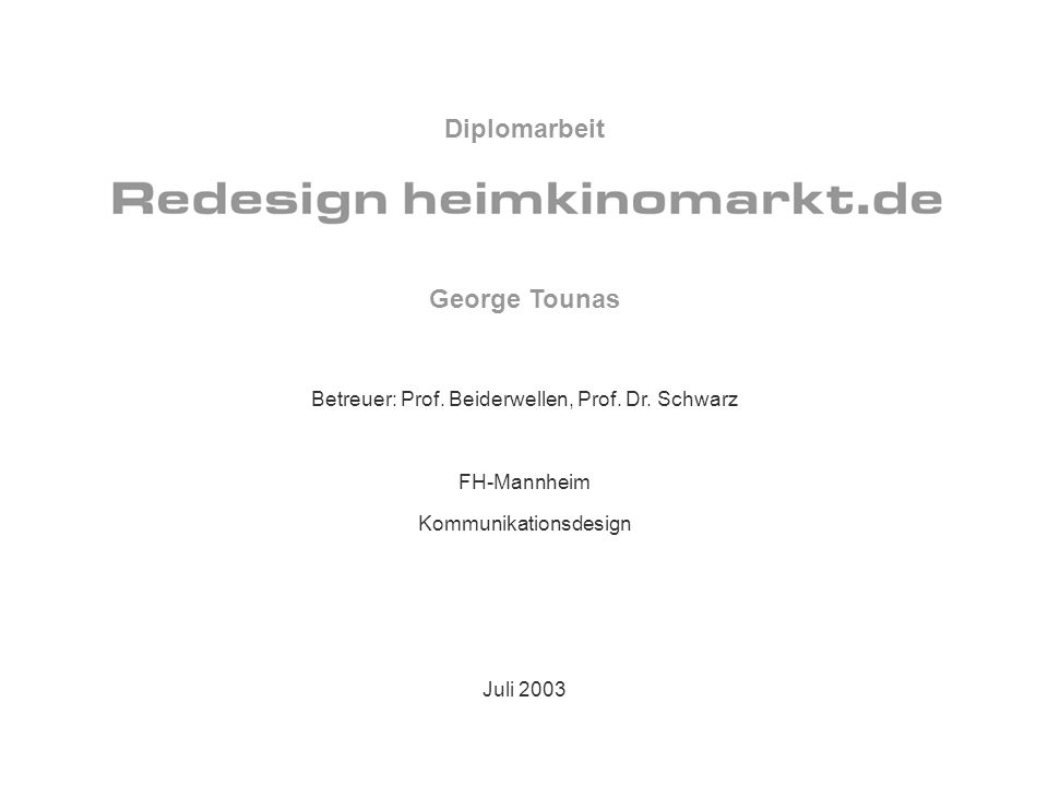 Diplomarbeit George Tounas