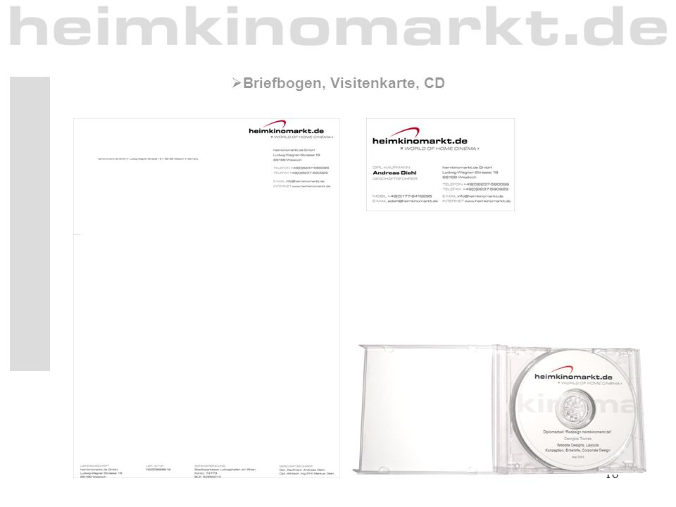 Briefbogen, Visitenkarte, CD